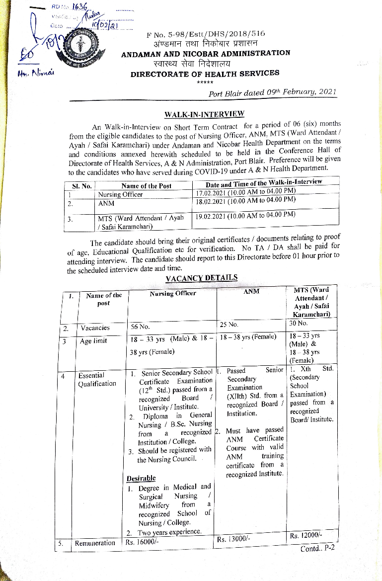 Andaman & Nicobar recruitment 2021: Walk-in interview for 111 NO, ANM and MTS from Feb 17 - Times of India