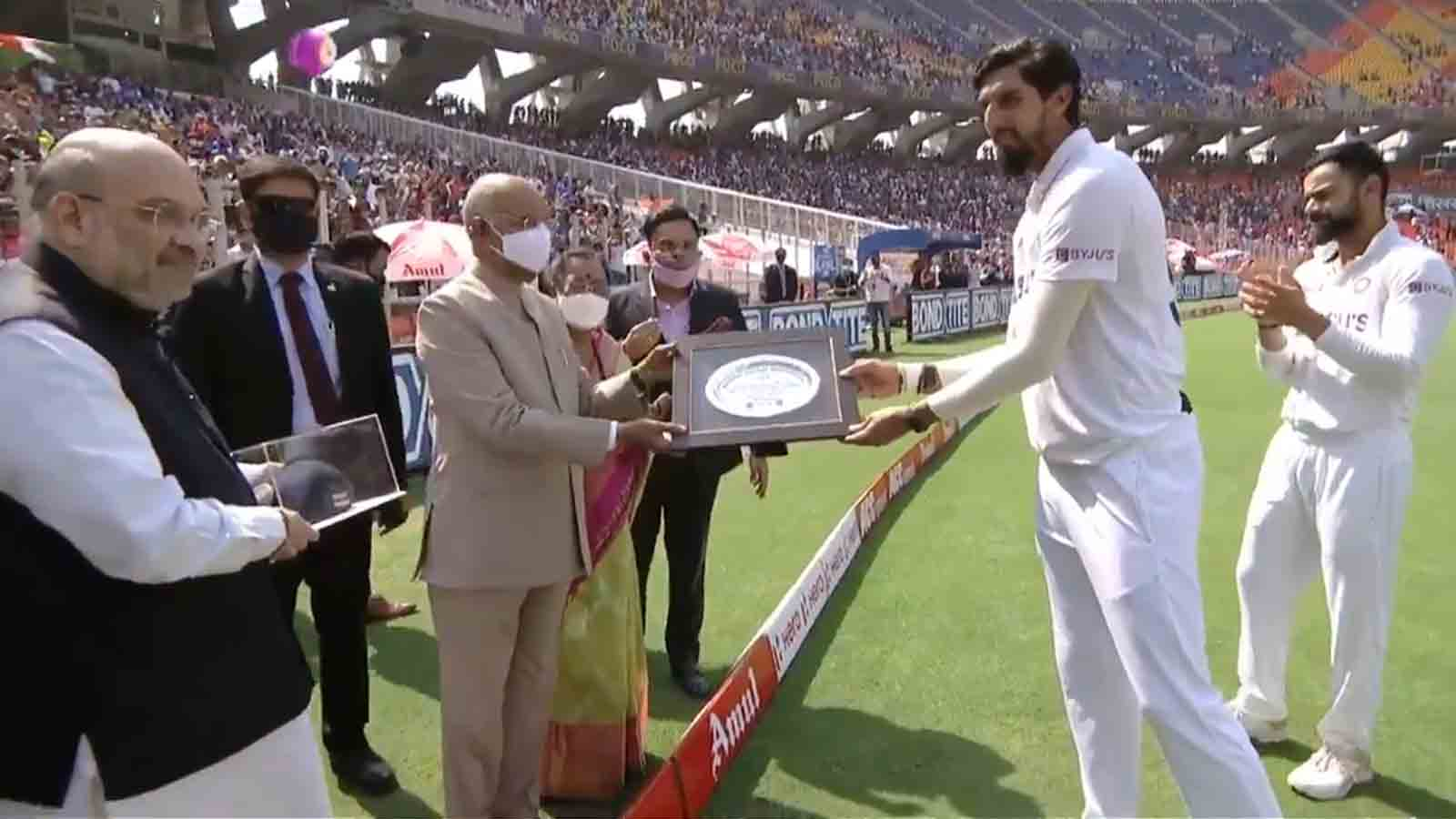 india-vs-england-president-ram-nath-kovind-amit-shah-felicitate-ishant-sharma-before-his-100th-test