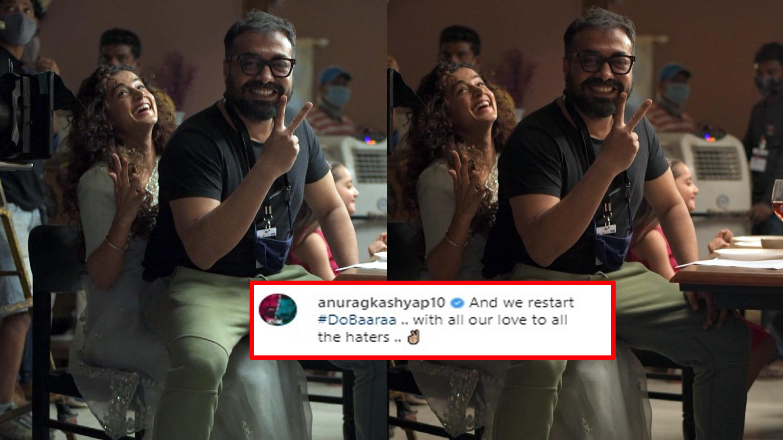 with-all-our-love-to-all-the-haters-writes-anurag-kashyap-as-he-shares-a-picture-with-taapsee-pannu-from-sets-of-dobaaraa-after-i-t-raids