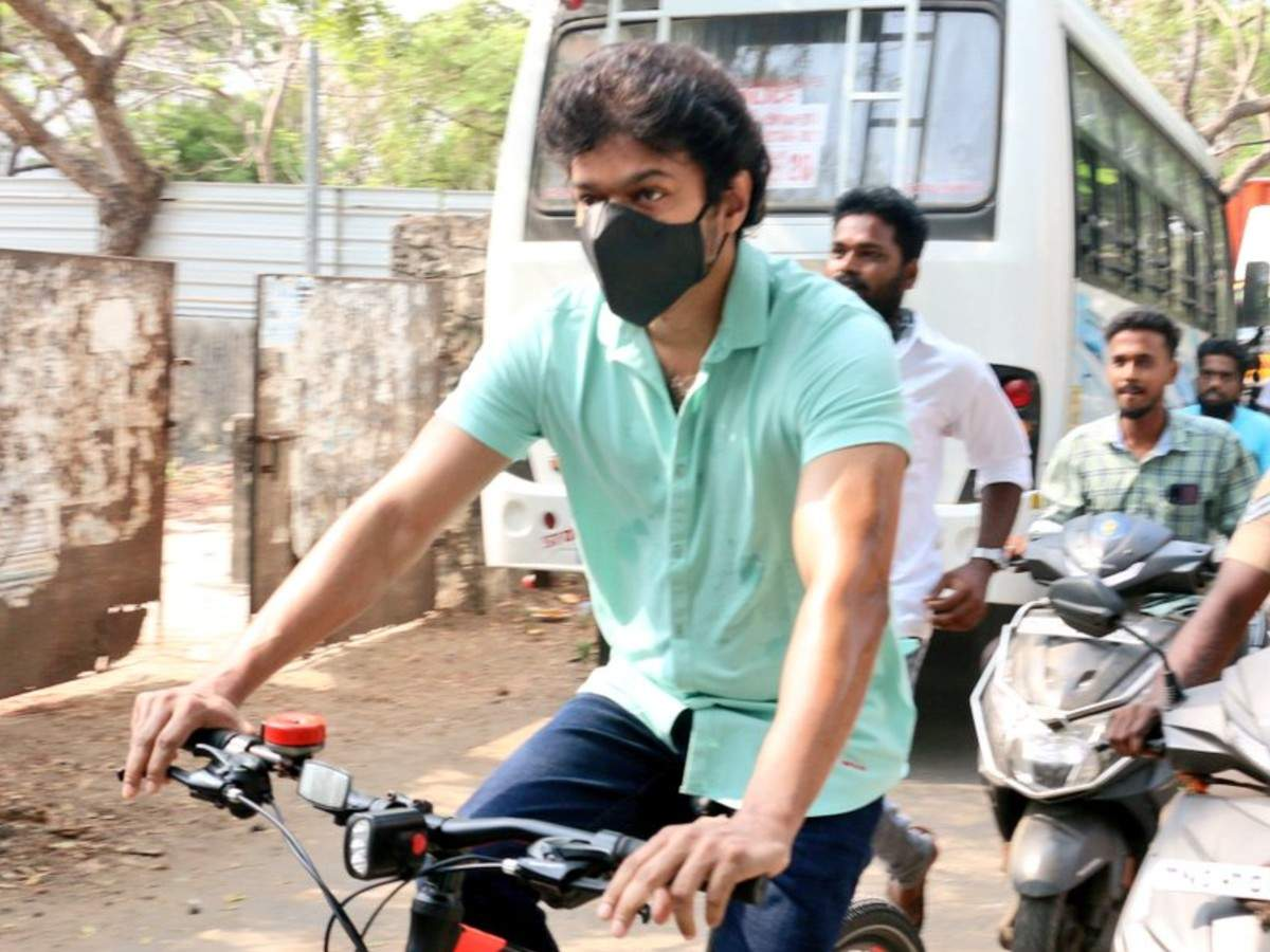 Vijay arrives on a bicycle to register his vote in TN Elections; view pic    Tamil Movie News - Times of India