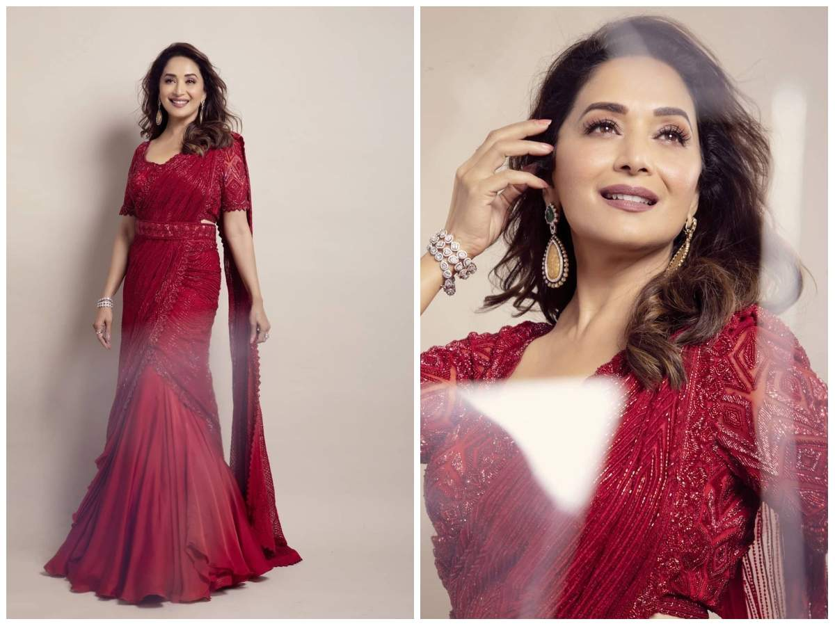 Photos: Madhuri Dixit looks beautiful as ever in THIS gorgeous red saree | Hindi Movie News - Times of India