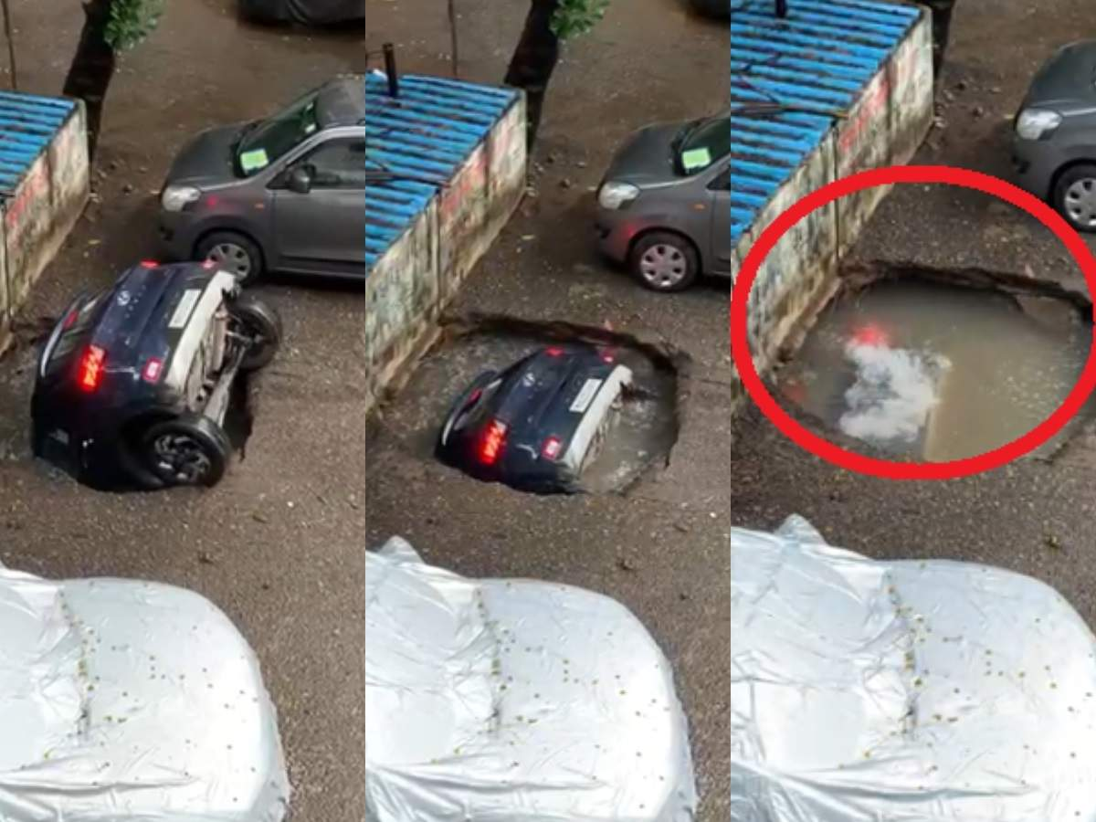 Shocking! Car disappears in seconds as RCC work on well caves-in in Ghatkopar - Video | Mumbai Mirror