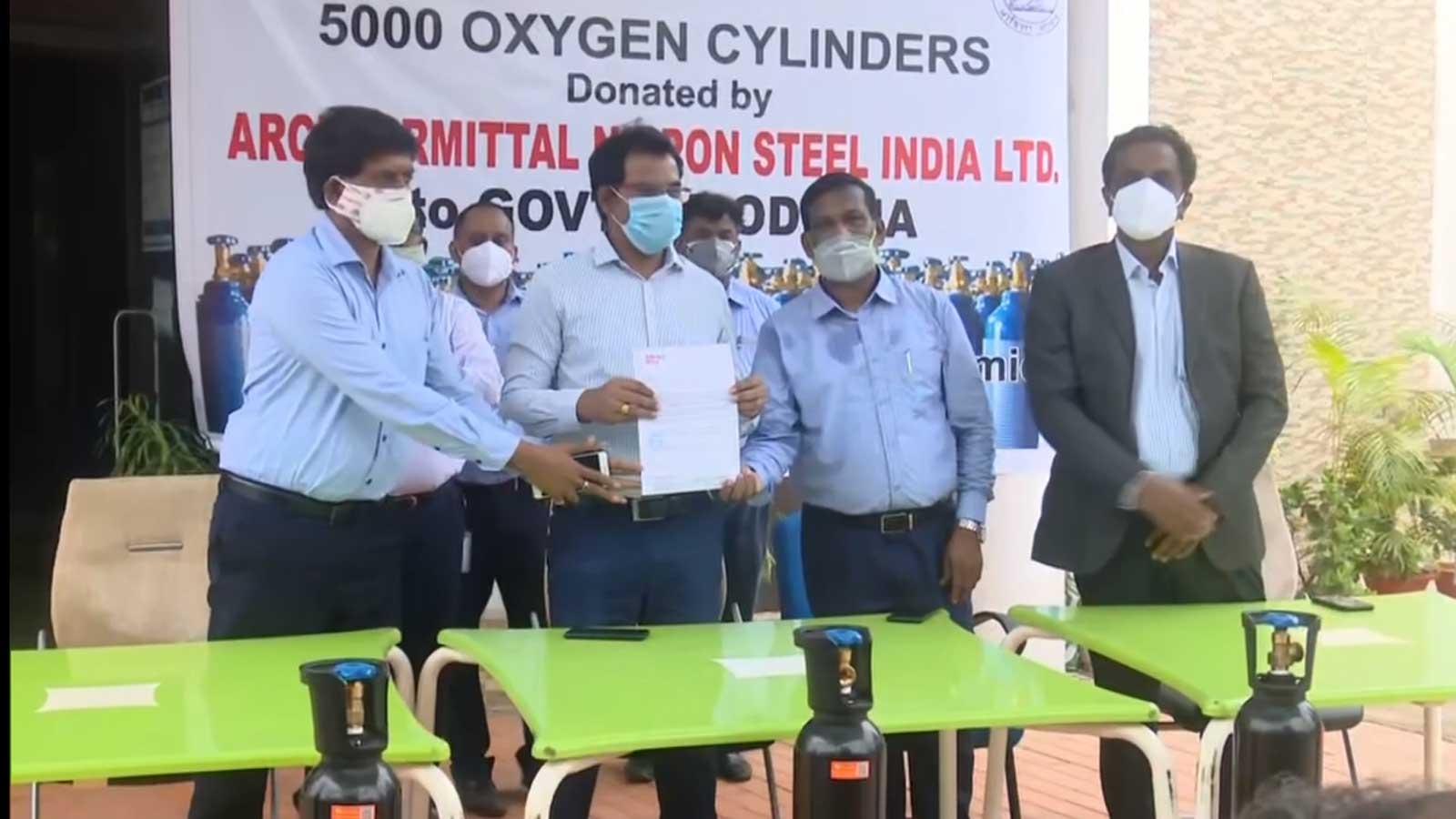 arcelormittal-nippon-steel-india-donates-over-5000-oxygen-cylinders-to-odisha-govt