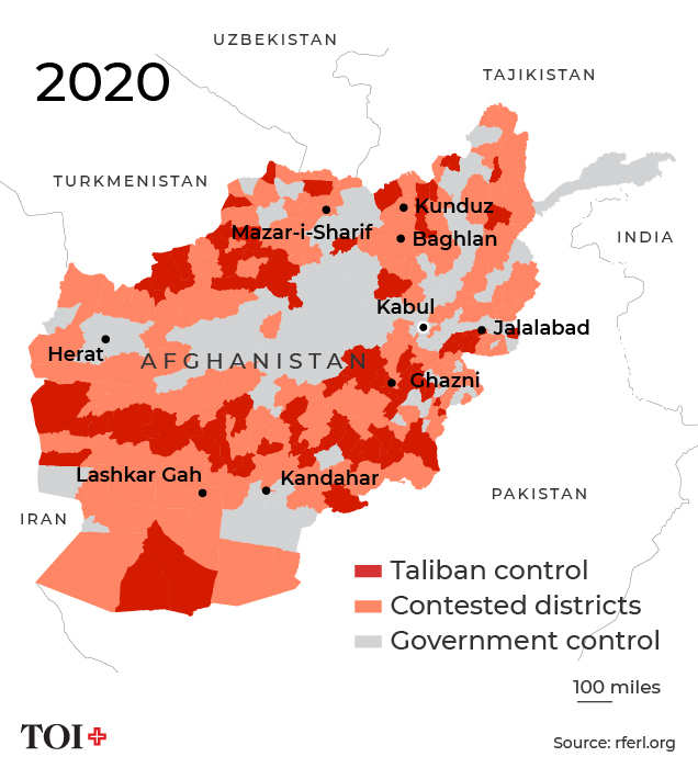 In Eight Maps How Taliban Came Knocking On Kabul S Door Times Of India