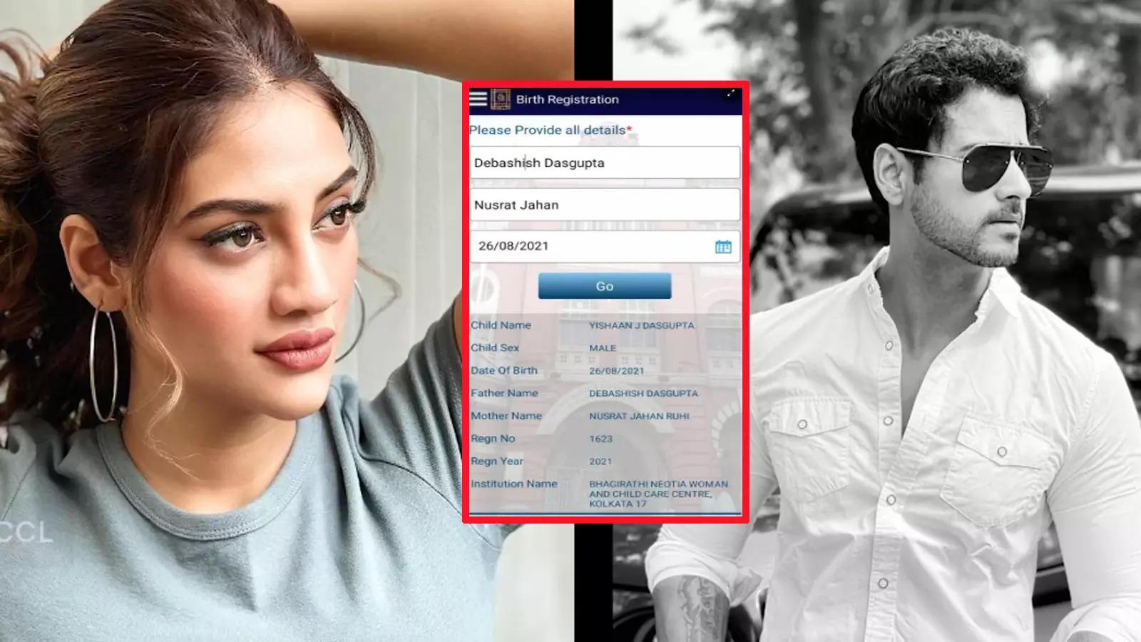 Actress-MP Nusrat Jahan's son's birth certificate reveals the name of father as Debashish Dasgupta aka Yash Dasgupta | Bangla Movie News - Times of India