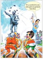 Garlanding Dr Ambedkar