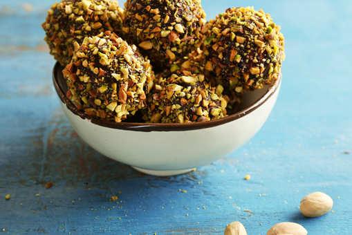 Pistachio and Burfi Chocolate Balls