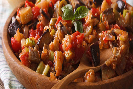 Prawns with Asparagus and Caponata