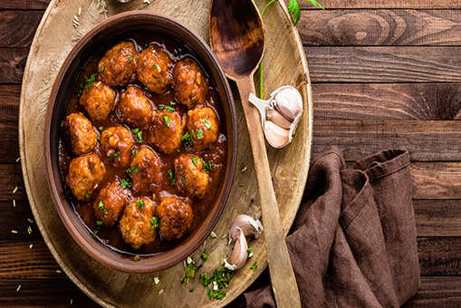 Herbed Pork Meatballs with Orzo Salad