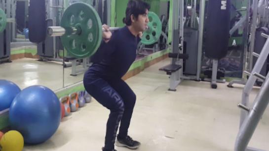 Doing shallow squats
