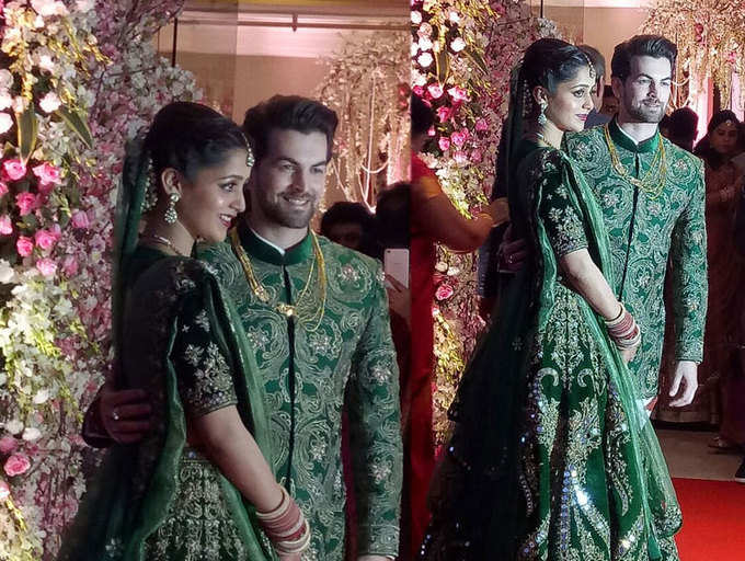 Neil Nitin Mukesh with wife Rukmini Sahay at their wedding reception