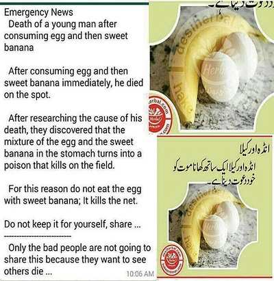 Fake News Buster: Man dies after eating egg and sweet banana
