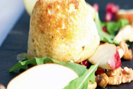 Cheese Souffle with Apple, Walnut and Pomegranate Salad