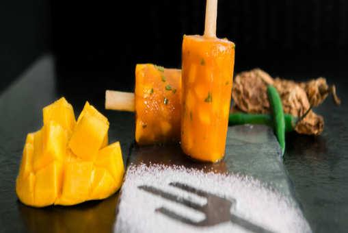 Spiced Fresh Mango Popsicle On Sugarcane Stick