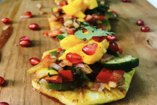 Panseared Pineapple with Peppery Mango Fruity Salsa