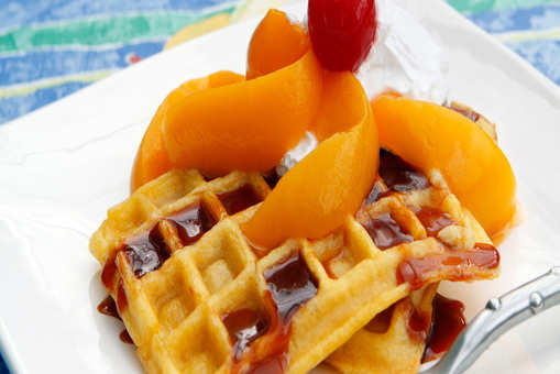 Gingerbread Waffles with Peach Sauce