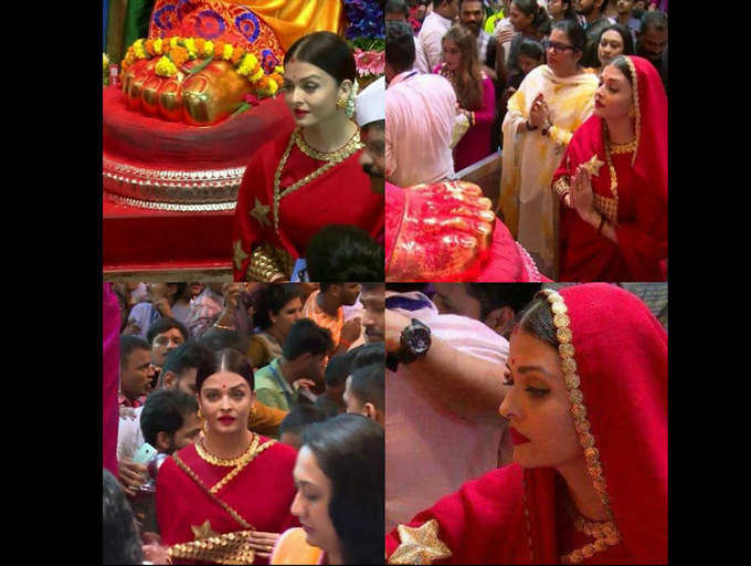 Pics: Aishwarya Rai Bachchan visits Lalbaugcha Raja
