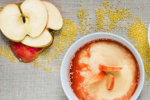 Rice Pudding with Apple and Strawberry Puree