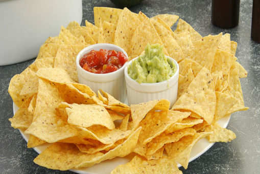 Corn Chips with Salsa and Avocado Dip