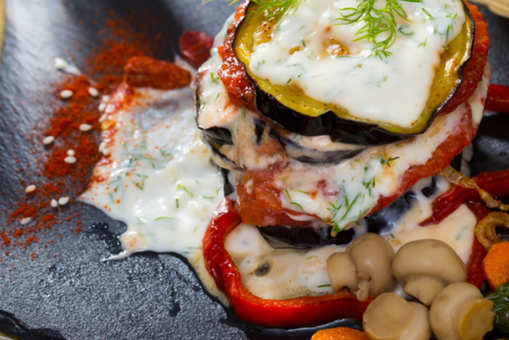 Mushroom and Eggplant tower with Tomato Chutney