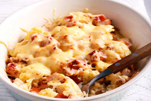 Cauliflower with Parmesan Cheese and Bacon