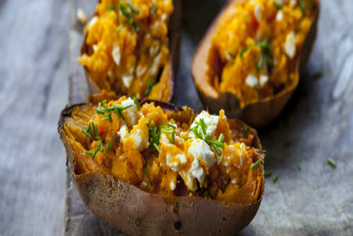 Baked Sweet Potato with Feta and Chives