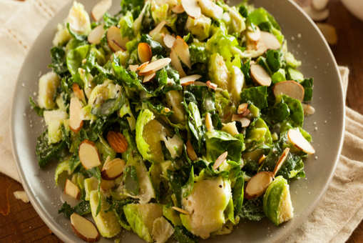 Shredded Kale and Brussels Sprout Salad with Lemon