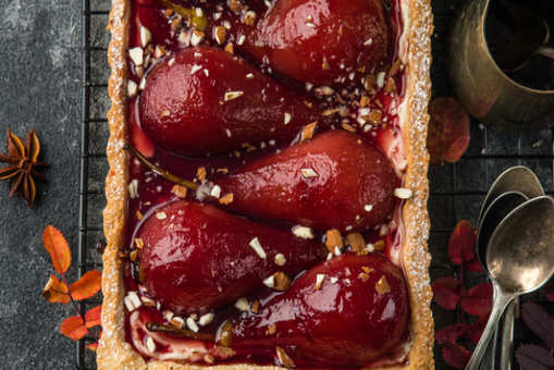 Red Wine Poached Pear and Chocolate Tart