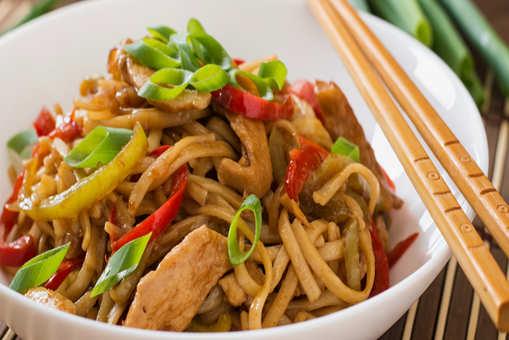 Sweet Brown Chicken with Hot Garlic Noodles