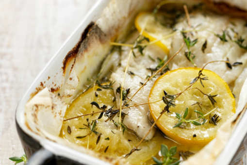Baked Cod with Lemon and Thyme
