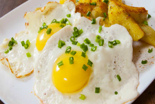 Potato Coins with Fried Eggs