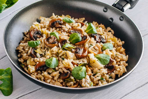 Peppery Mushroom with Brown Rice and Bacon