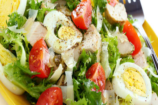 Cos Salad with Chicken and Boiled Eggs