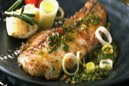 Grilled Fish in Garlic Butter Sauce