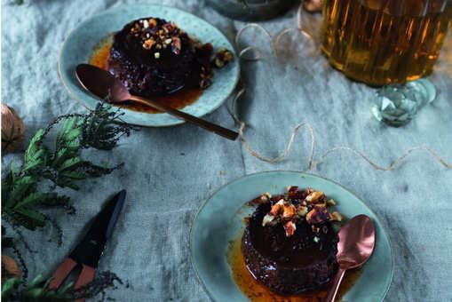 Bourbon Chocolate Crème Caramel with Salted Walnut Caramel