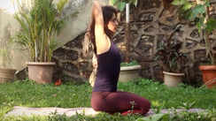 Shoulder stretches with Yoga strap