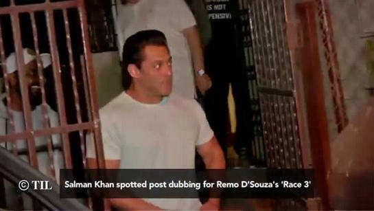 Salman Khan spotted post dubbing for Remo D'Souza's 'Race 3'