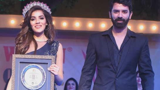 Barun Sobti walks the ramp with Miss Diva Supranational 2018 Aditi Hundia at Women Of The Future Awards'18 in Jaipur