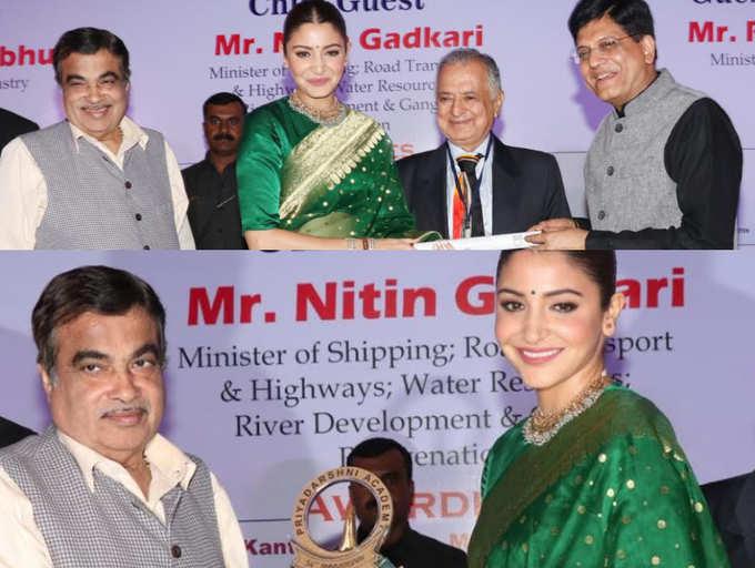 Anushka Sharma presented Smita Patil Memorial Award by Union Ministers Nitin Gadkari and Piyush Goyal