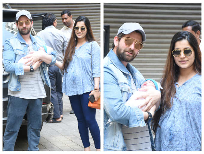 Photos: Neil Nitin Mukesh heads home with his daughter 'Nurvi' and wife Rukmini