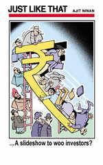Rupee's 'slide' show