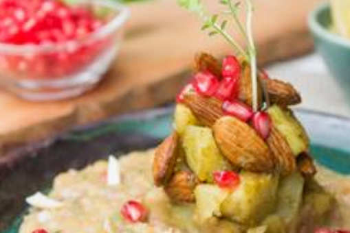Almond Chaat with White Pea Ragda