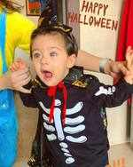 Inaaya's Halloween ready with the cutest spooky pose