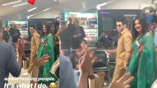 Watch: Priyanka Chopra breaks into a dance at airport, Nick Jonas cannot stop smiling