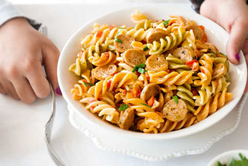 Tricolour Pasta with Chicken Sausage and Bell Pepper