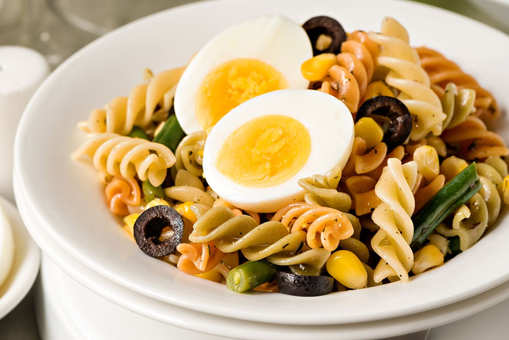Tricolour Pasta Salad with Eggs, Corn and Olives