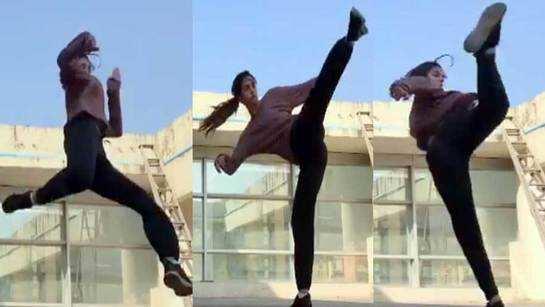 Disha Patani performs Tiger Shroff's signature spin and kick like a boss!