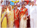 Sri. Rajendra Jasud along with the villagers, after laying down the foundation stone for the construction of Bhaiyravnath Mandir.-1
