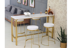 Elegant bar table with gold legs and frame