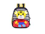 Tiger Printed School Bag Blue Yellow